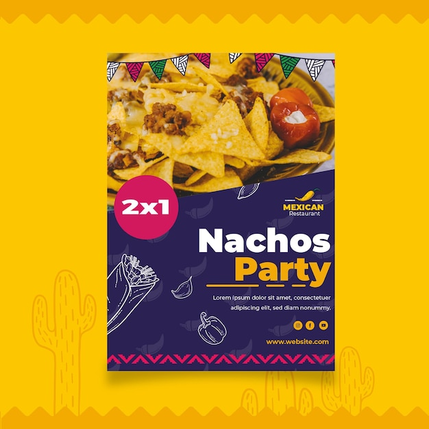 Mexican food flyer template Free Vector