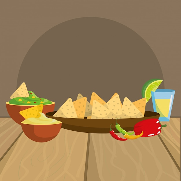 Mexican food gastronomy Premium Vector