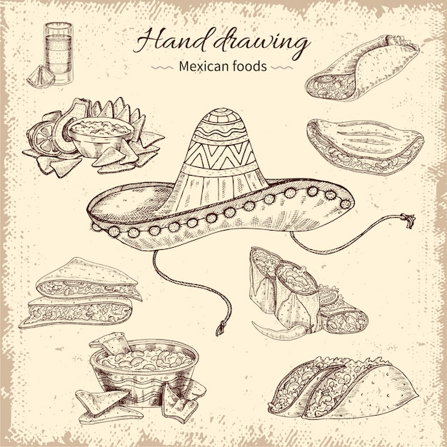 Мексиканская еда рисованной дизайн Бесплатные векторы