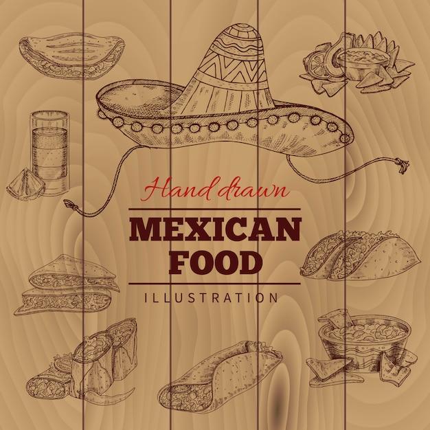 メキシコ料理の手描きイラスト 無料ベクター