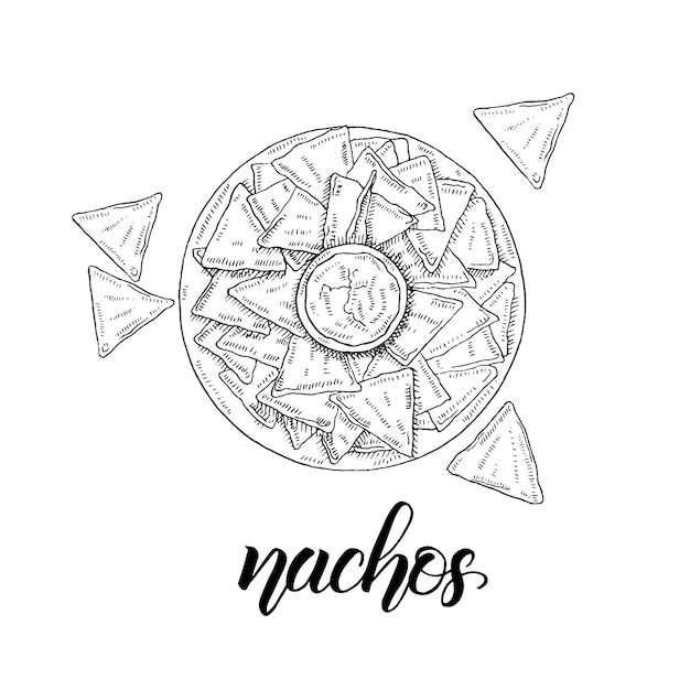 Mexican food. hand drawn nachos in sketch style isolated on white. hand made lettering. Premium Vector