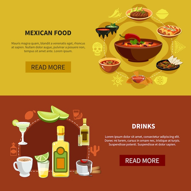 Mexican food horizontal banners Free Vector