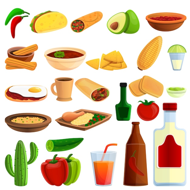 Mexican food icons set, cartoon style Premium Vector