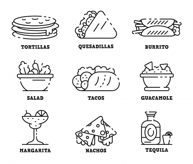 Mexican food icons set, outline style Premium Vector