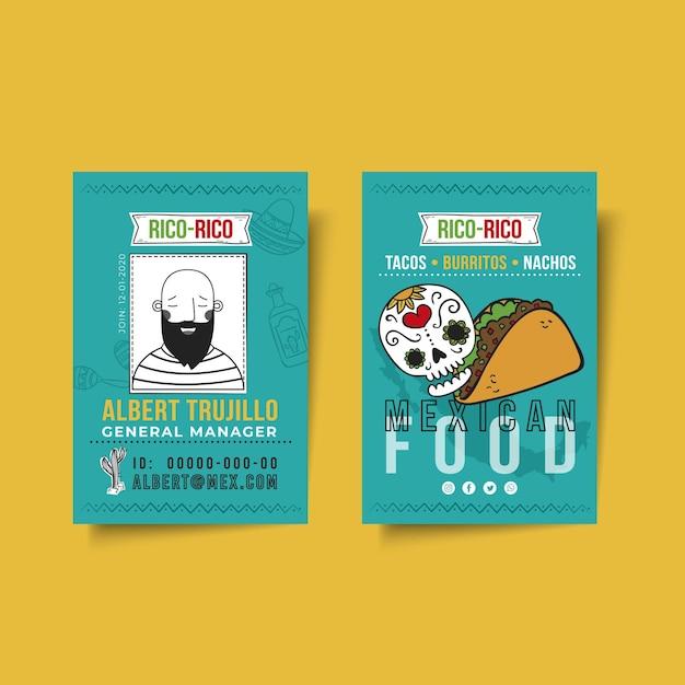 Carta d'identità cibo messicano Vettore gratuito