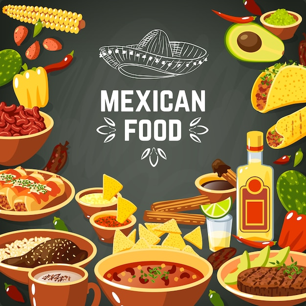 Mexican food illustration Free Vector