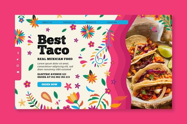 Pagina di destinazione del cibo messicano Vettore gratuito