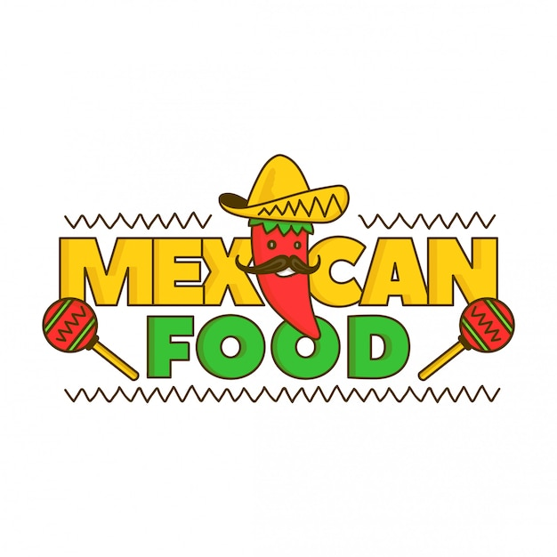 Мексиканская еда логотип для меню. мультфильм иллюстрация. изолированные на белом. мексиканский перец Premium векторы