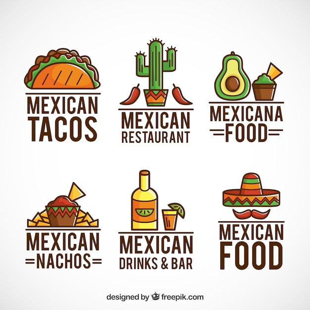 Mexican food logos collection with outline Free Vector