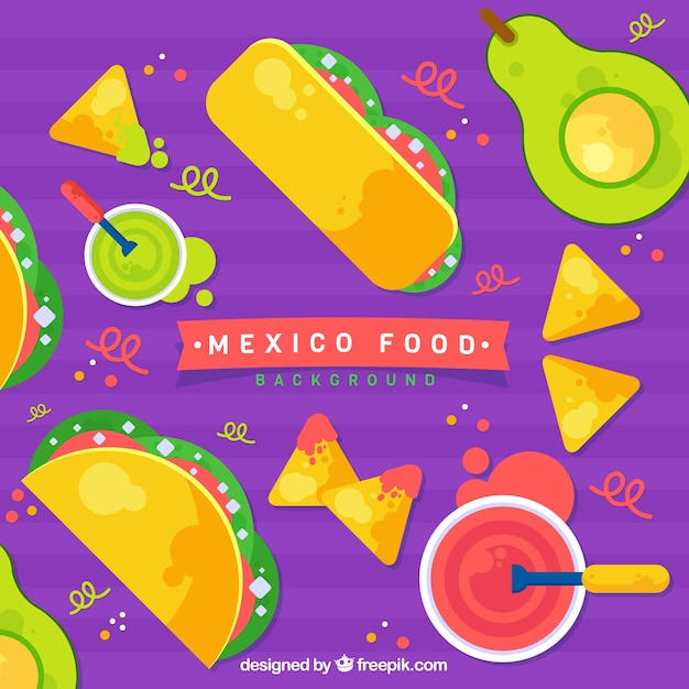 Mexican food pattern Free Vector