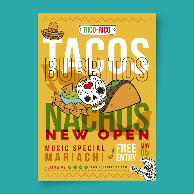 Mexican food poster template Free Vector