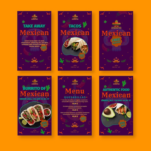 Mexican food restaurant instagram stories collection Free Vector