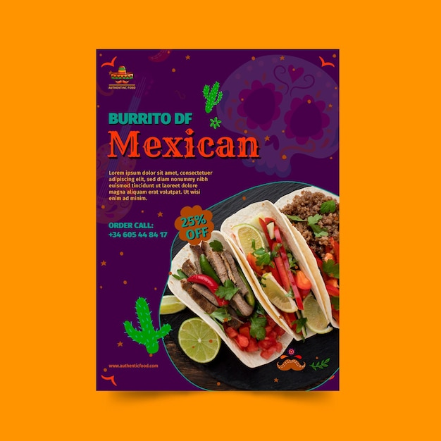 Mexican food restaurant vertical flyer template Free Vector