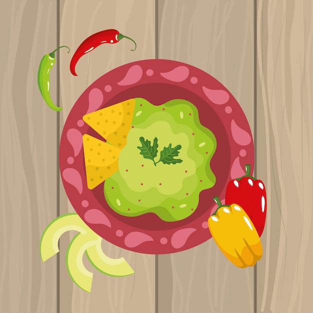 Mexican food sauce with chile pepper Premium Vector