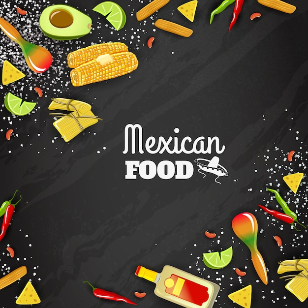 Mexican food seamless background Free Vector