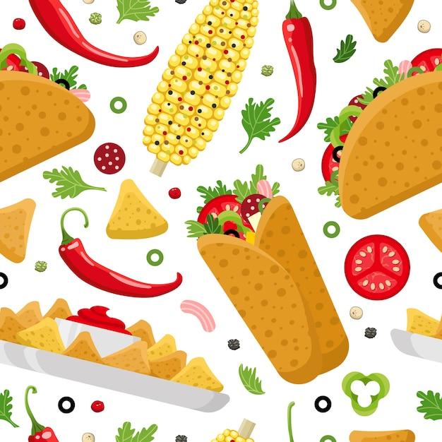 メキシコ料理のシームレスなパターン。ブリトー、タコス、ナチョス。カラフルな背景、かわいいスタイル。 Premiumベクター