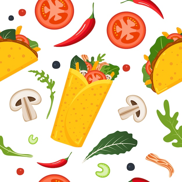 Mexican food seamless pattern. Premium Vector
