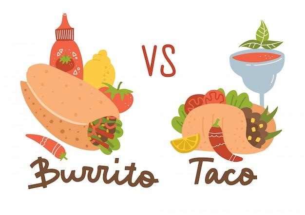 メキシコ料理セット。ブリトーvsタコス。ブリトー、タコス、チリ、マルガリータのカクテルとソースのカラーコレクション。 Premiumベクター