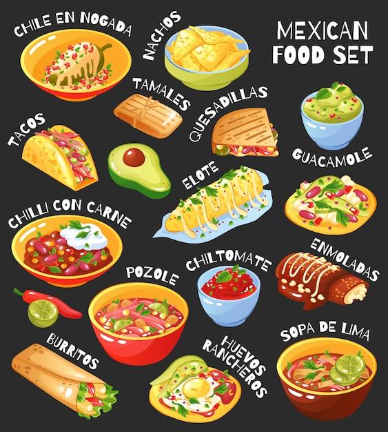 メキシコ料理セット黒板 無料ベクター