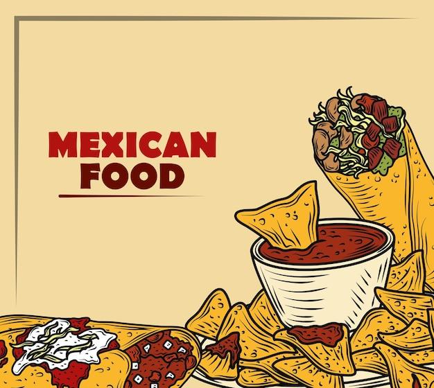 Традиционное меню мексиканской кухни с тако с буррито энчилада, винтажная гравировка Premium векторы