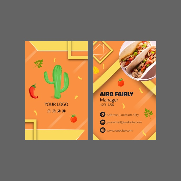 Mexican food vertical business card template Premium Vector
