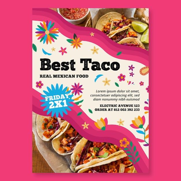 Modello di volantino verticale di cibo messicano Vettore gratuito
