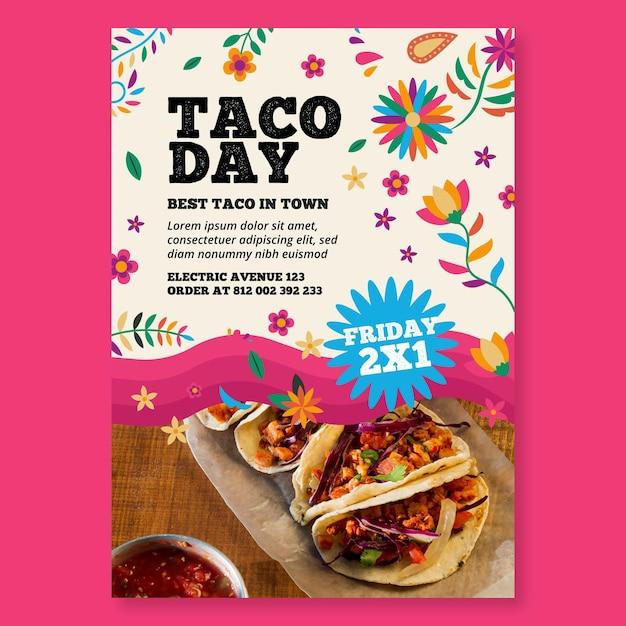 Volantino verticale di cibo messicano Vettore gratuito