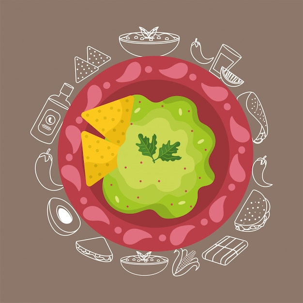 Mexican food with avocado traditional sauce Premium Vector