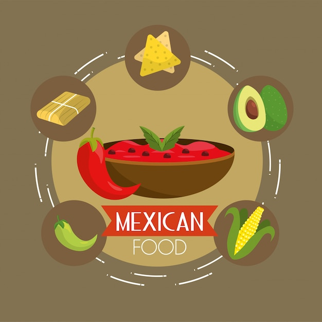 Mexican food with spicy sauce background Premium Vector