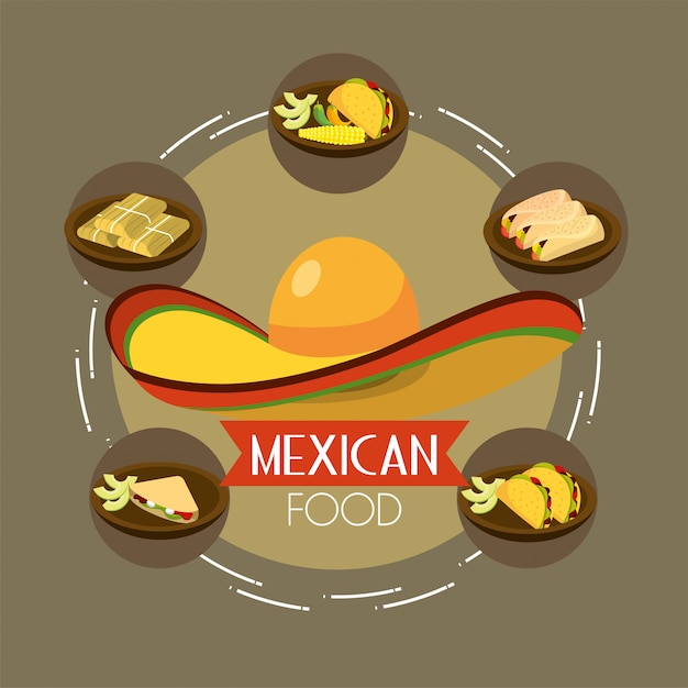Mexican food with spicy tacos and avocado Premium Vector