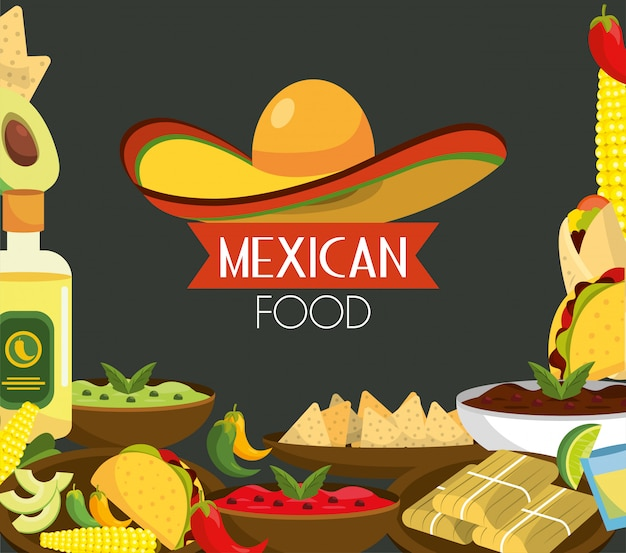 Mexican food with tequila and traditional sauces Premium Vector