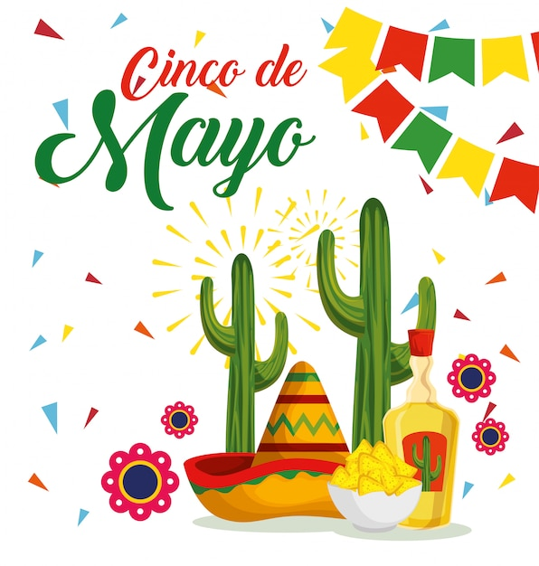 Mexican hat with cactus and tequila to event Free Vector