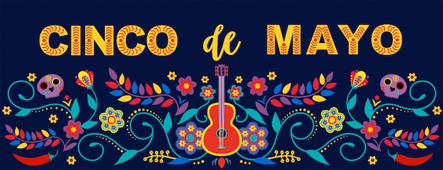 Mexican holiday 5 may cinco de mayo.  template with traditional mexican symbols. fiesta banner and poster  with flags, flowers, decorations. Premium Vector