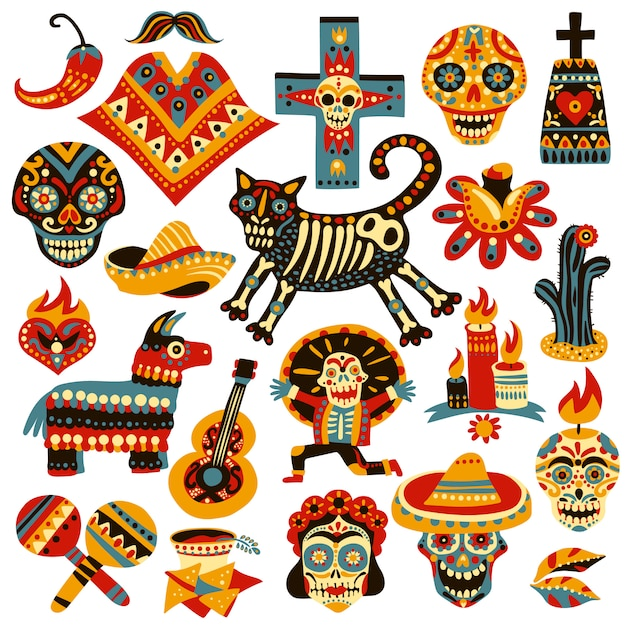 Mexican holiday elements set Free Vector