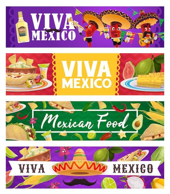 멕시코 휴가 음식과 고추 음악가, 비바 멕시코 배너. 프리미엄 벡터