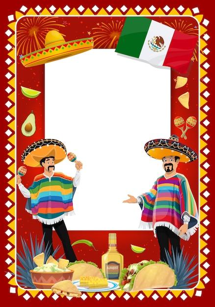 Cinco De Mayo 축제에서 Mariachi 음악가와 멕시코 휴가 프레임. 마라카스를 연주하는 솜브레로와 판초의 음악 밴드 캐릭터. 타코, 과카 몰리 또는 데킬라 축제 카니발 테두리 프리미엄 벡터