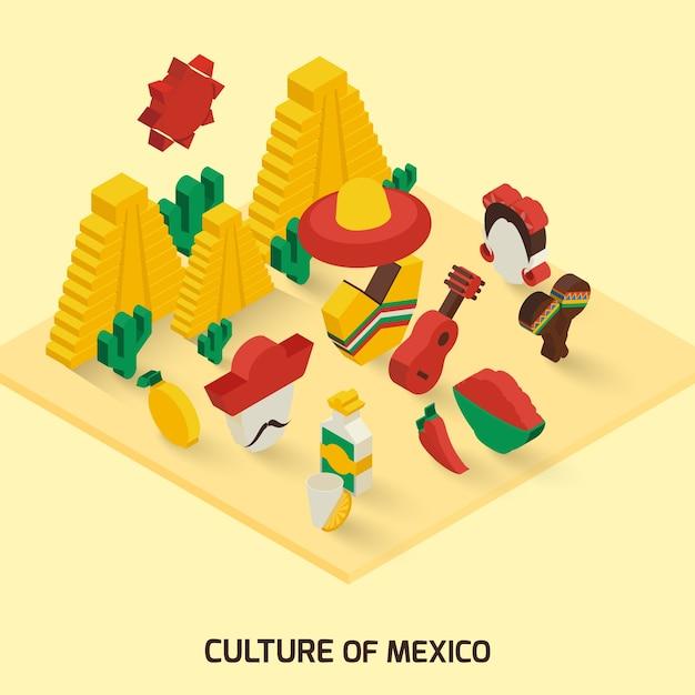Icona messicana isometrica Vettore gratuito