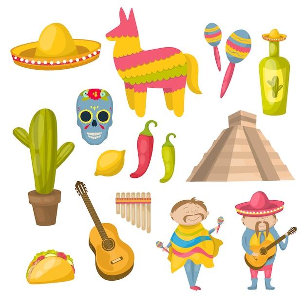Мексиканская икона набор с традициями местных жителей и отличительными чертами страны векторные иллюстрации Бесплатные векторы