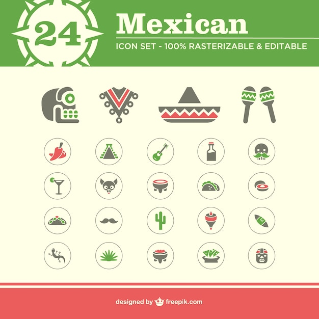 Mexican icons Free Vector