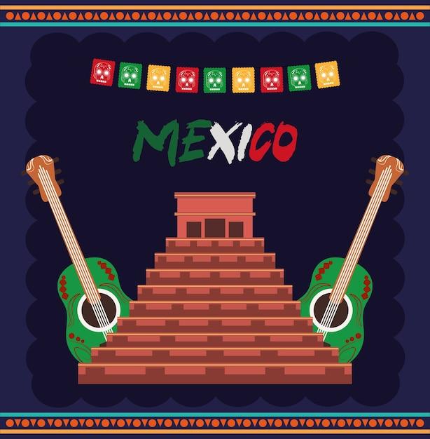 9月の図に祝われるメキシコの独立記念日、古代マヤのピラミッドとギター Premiumベクター
