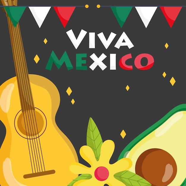 メキシコの独立記念日、アボカドとギターの花の装飾、ビバメキシコは9月の図で祝われます Premiumベクター