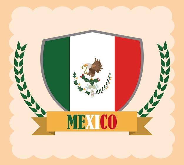 メキシコの独立記念日、9月の図に祝われる盾紋章のメキシコをフラグします。 Premiumベクター