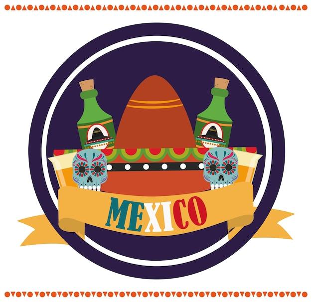 メキシコの独立記念日、9月の図に祝われる花カトリーナ帽子テキーラボトル Premiumベクター