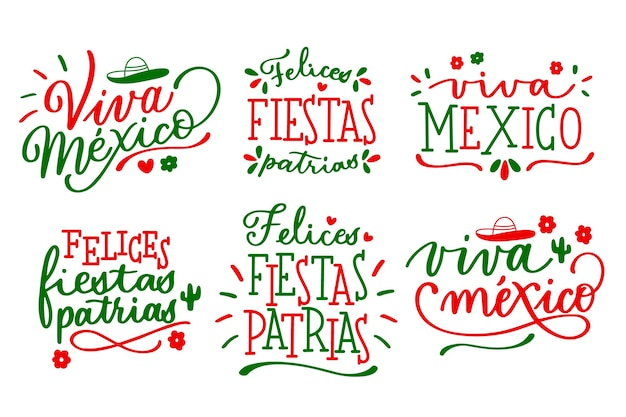 Mexican independence day lettering badges Premium Vector
