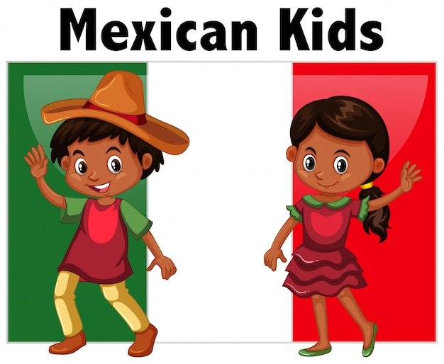 Mexican kids with flag Free Vector