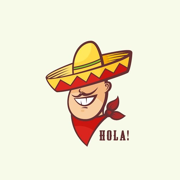 伝統的なソンブレロとメキシコ人男性の頭 無料ベクター