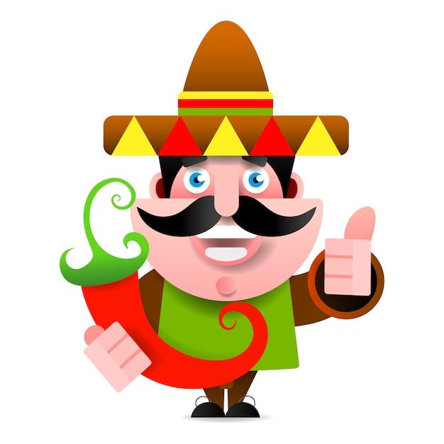 Mexican man in sombrero showing okay sign Premium Vector