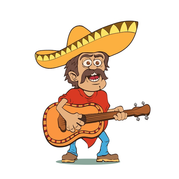Mexican man in sombrero and with guitar Premium Vector