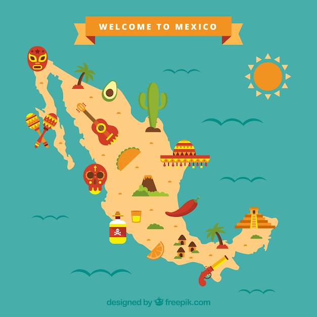 Mexican map with cultural elements Vector Free Download