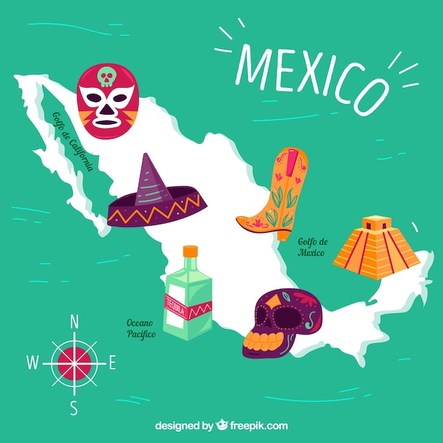 Mexican map with elements background Free Vector